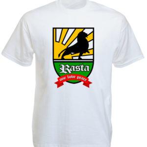 Tshirt Blanc en Coton Imprimé Blason Rasta Lion de Juda Taille L