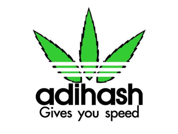 T-Shirt Blanc Humoristique Logo Adidas détourné en Adidhash