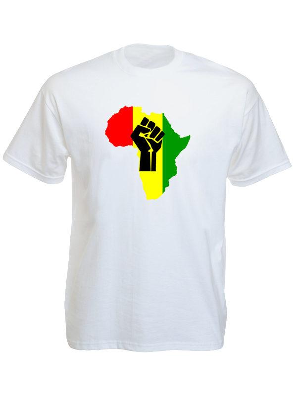 Tshirt Blanc à Manches Courtes Drapeau Couleurs Panafricaines