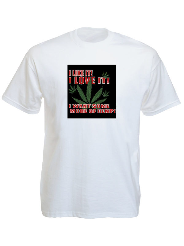 T-Shirt Blanc Manches Courtes Feuilles de Cannabis « I like, i love Hemp »