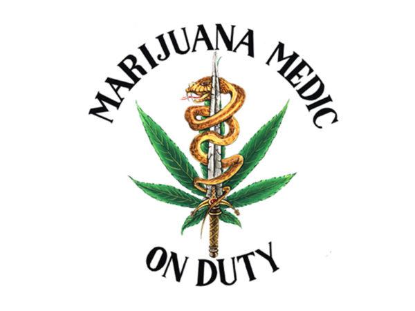 T-Shirt Blanc Manches Courtes Militant Cannabis Pharmaceutique ou Médical