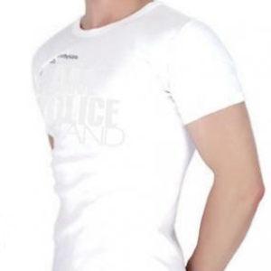 Tshirt Blanc Police Body Homme Serré Près du Corps en Coton