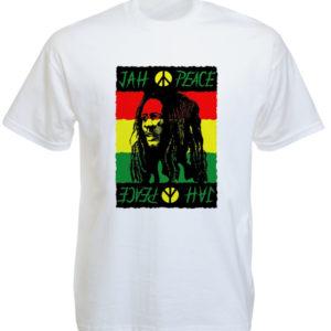 T-Shirt Blanc Rasta Jah Peace Bob Marley à Manches Courtes