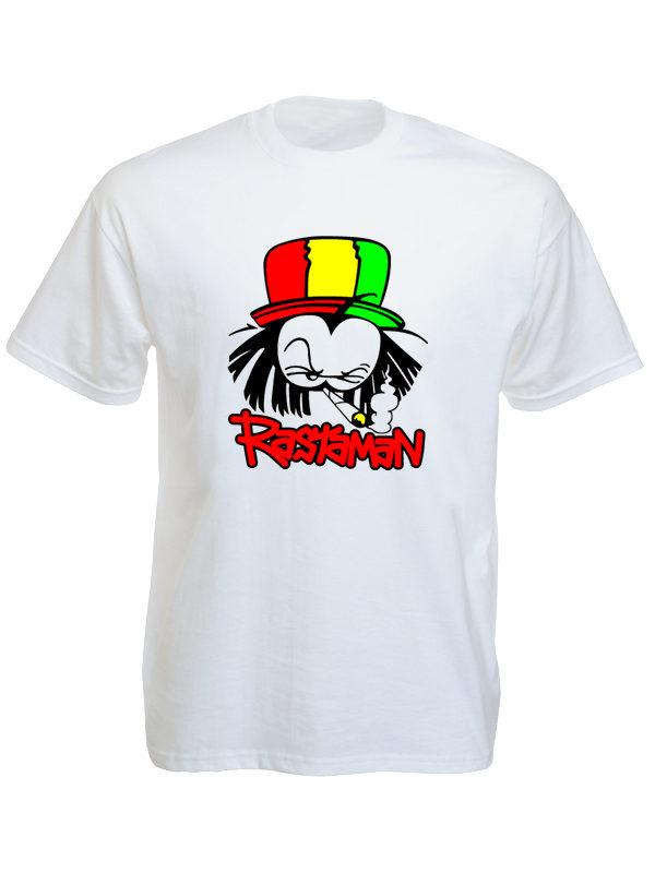 T-Shirt Blanc en Coton et Manches Courtes avec Rastaman le Fumeur de Weed