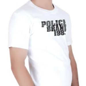 Tshirt Blanc Style Urban Chic Marque Police Manches Courtes