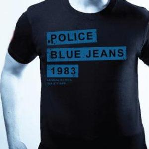 Tshirt Bleu Foncé Police à Manches Courtes pour Homme