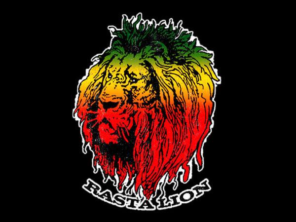 Tee Shirt Noir en Coton Impression Lion des Rastas Vert Jaune Rouge