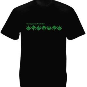 Tshirt Noir Homme Souvenir Amsterdam Feuilles de Chanvre