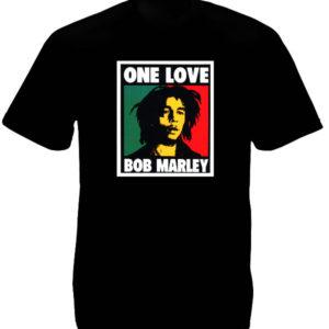 Tshirt Noir Manches Courtes Coton Portrait Artistique Bob Marley