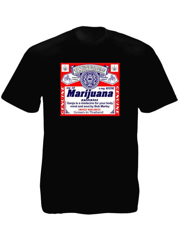 Tshirt Noir à Manches Courtes Etiquette Vente Marijuana Cannabis