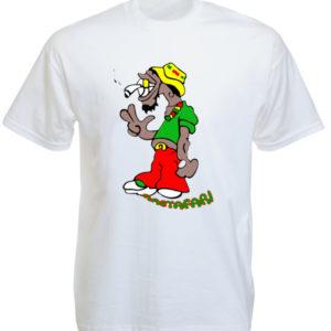 T-Shirt Blanc Rastafari Humoristique à Manches Courtes en Coton