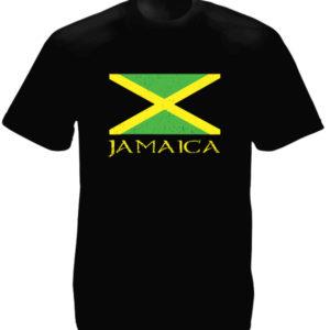 T-Shirt Noir Jamaica Drapeau de la Jamaïque Jaune, Noir et Vert