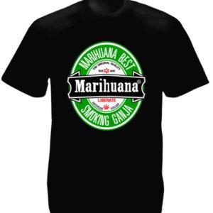 T-Shirt Noir Manches Courtes Fausse Pub Heineken pour la Marijuana