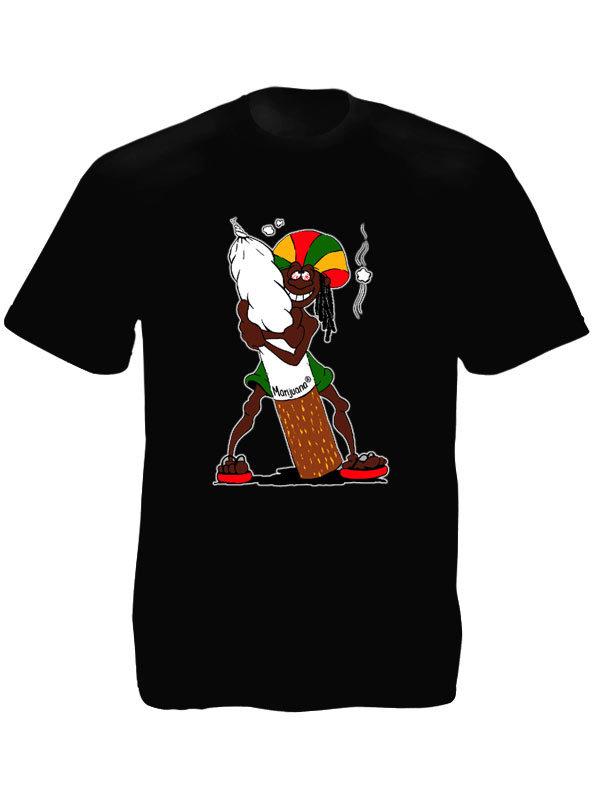 T-Shirt Noir Manches Courtes Humour Personnage Rasta
